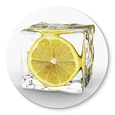 Tableau en verre - Tableau sur verre rond - Glaçon au Citron