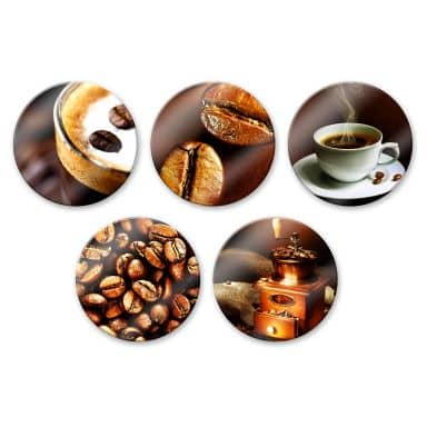 Tableau en verre - Set Café (5 parties) - rond