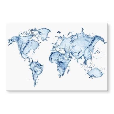 Glasbild Splashing Worldmap