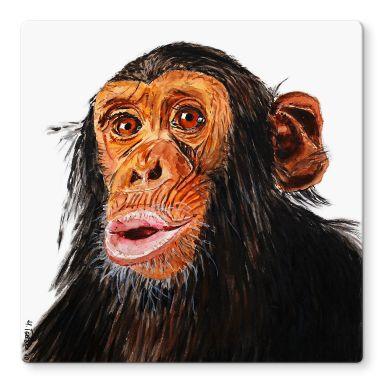 Glasbild Toetzke - Affenporträt - quadratisch