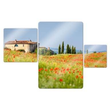 Tuscany panorama Glass art (3 parts)