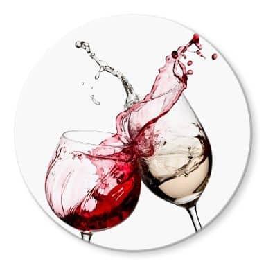 Tableau en verre - Verres à vin - rond