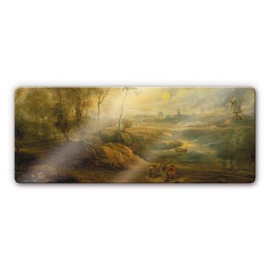 Rubens - Landscape with fowler Glass art