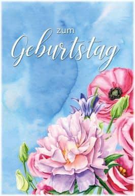 Gutschein Geburtstag Watercolor Blumen
