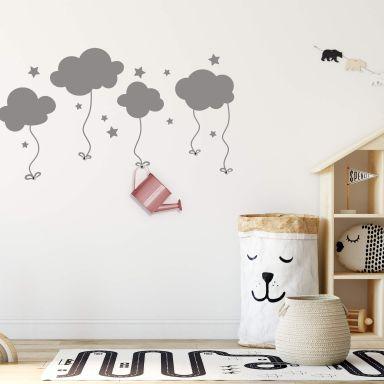 Sticker mural - Nuages dans le ciel + Set de 5 patères inclus