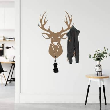 Sticker mural - Cerf + Set de 3 patères inclus