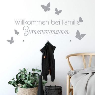 Wandtattoo + Name Willkommen bei Familie inkl. 3 Haken