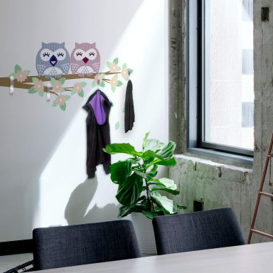 Branch with Owls + 4 Hooks Wall sticker