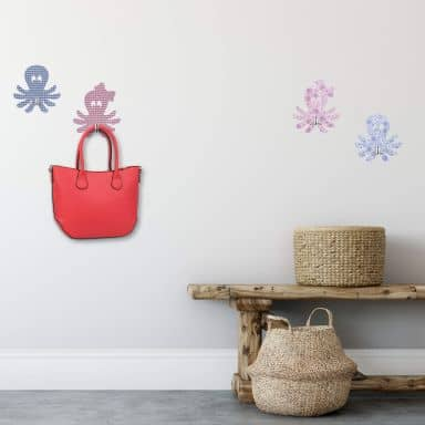 Sticker mural - Poulpe set + 4 crochets