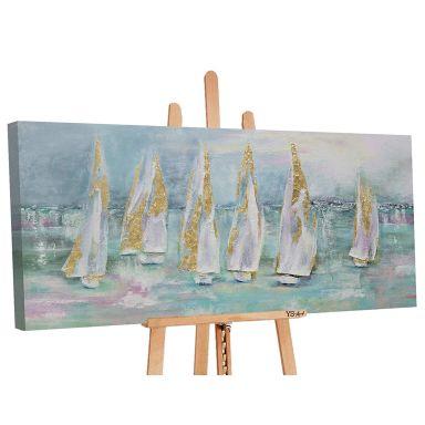 Acryl Gemälde handgemalt Segelboote 120x60 cm