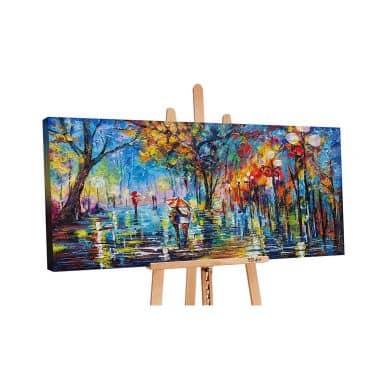 Acryl Gemälde handgemalt Herbstliche Allee 140x70 cm