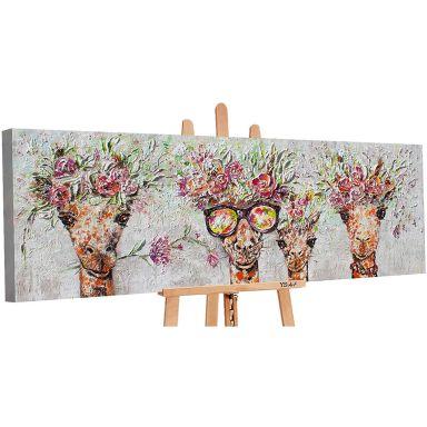 Dipinto acrilico Giraffe 150x50 cm