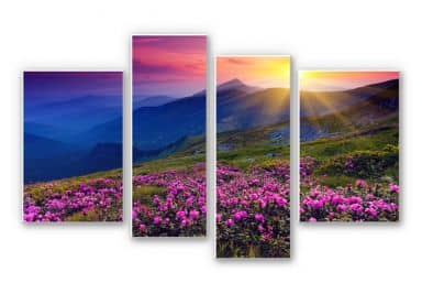 Forex print Sunset in the mountains (4 parts)