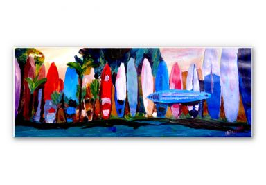 Tableau Forex - Bleichner - Mur de planches de surf - Panorama