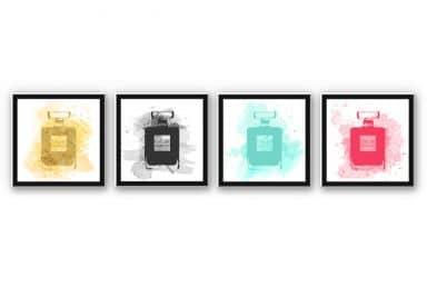Wandbild Eau de Parfum Aquarell Bunt (4-teilig)