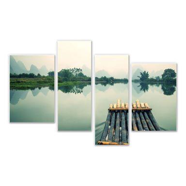 Wandbild Floßfahrt in China (4-teilig)