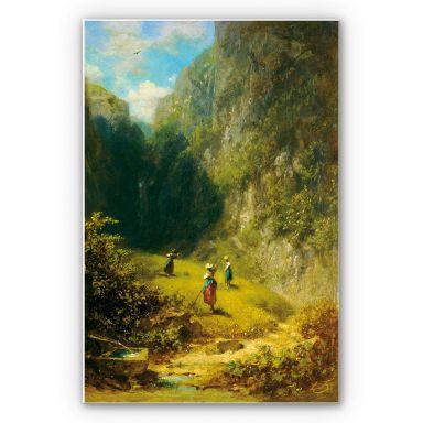 Wandbild Spitzweg - Heuernte im Hochgebirge