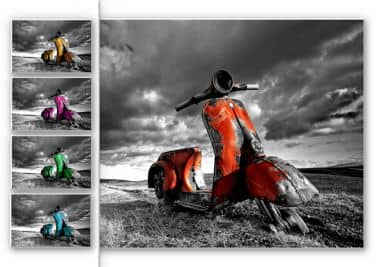 Forex print Ingi Bergsson - Old rusted Vespas - color selection
