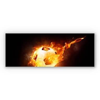 Wandbild Fußball in Flammen - Panorama