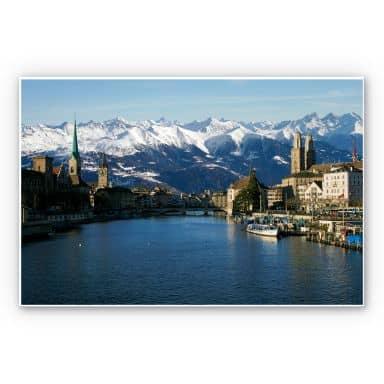 Wandbild Zürichsee mit Alpen