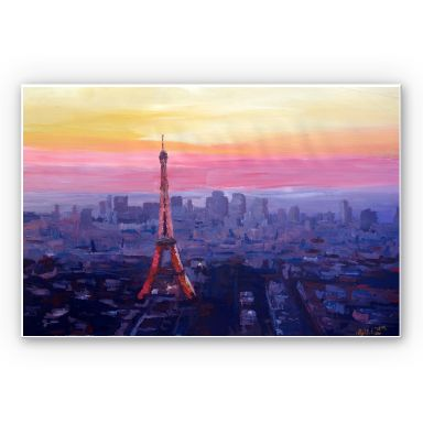 Wandbild Bleichner - Pariser Eiffelturm in der Abenddämmerung