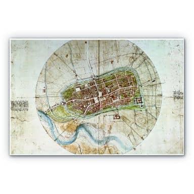 Wandbild Da Vinci - Stadtplan von Imola
