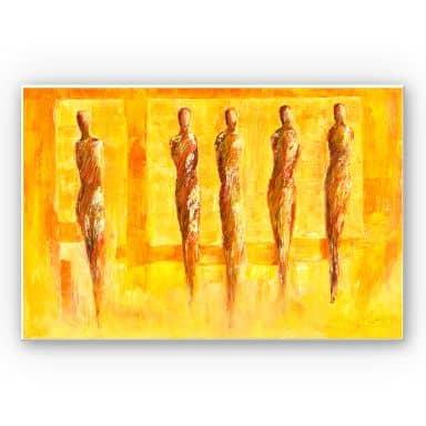 Wandbild Schüßler - Fünf Figuren in Gelb