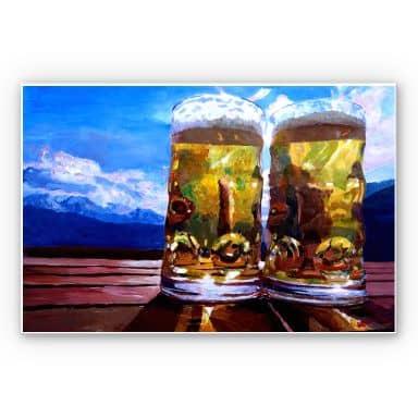 Wandbild Bleichner - Zwei Bier in den Bergen