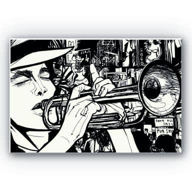Wandbild Sound of a Street Musician