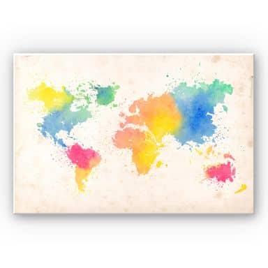 Wanddecoratie Forex Wereldkaart - Aquarel