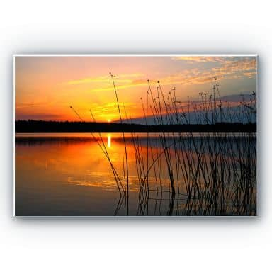 Wandbild Sonnenuntergang am See
