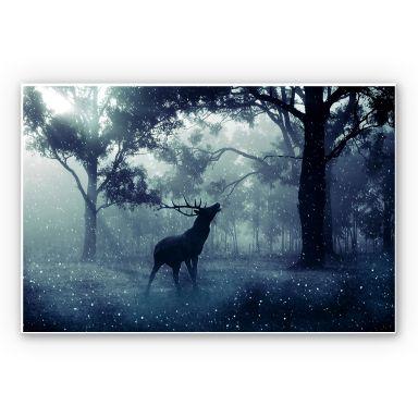 Wandbild Hirsch im Morgenwald