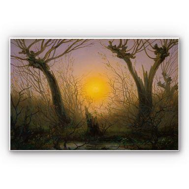 Wandbild Friedrich - Waldlandschaft bei tiefstehender Sonne