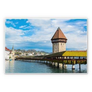 Wandbild Holzbrücke in Luzern
