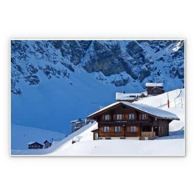 Wandbild Ferienhütte in den Schweizer Alpen