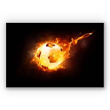 Wandbild Fußball in Flammen