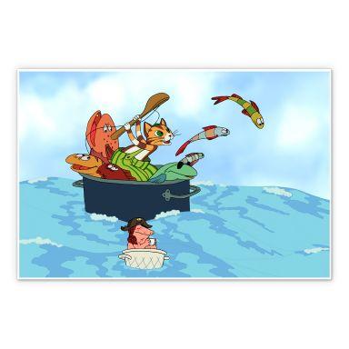 Wandbild Pettersson und Findus - Fischjagd mit Freunden