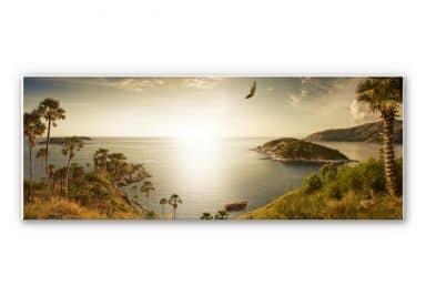 Wandbild Sonnenuntergang im Paradies - Panorama