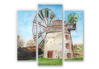 Wandbild Toetzke - Holländerwindmühle (3-teilig)