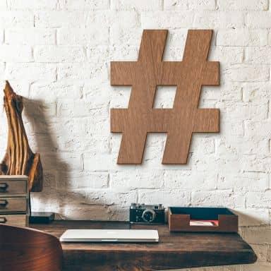 Holzbuchstaben Mahagoni Hashtag