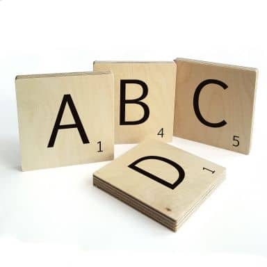 Decoratieletters Scrabble per stuk