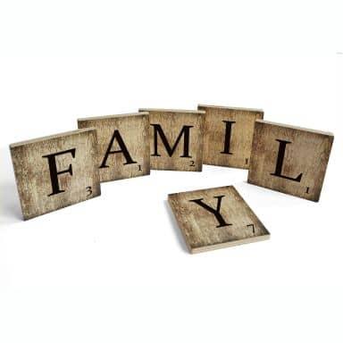 Houten Scrabble Letters - FAMILY - vintage