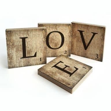Houten Scrabble Letters - LOVE - vintage