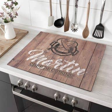 Plaque de protection Chef Cuisine + Texte au choix