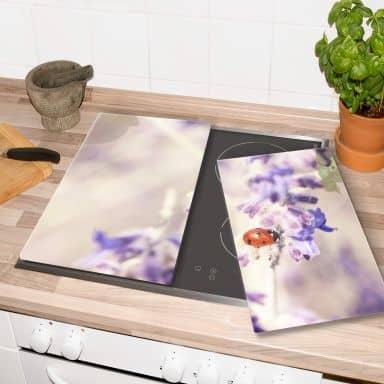 Plaque de protection cuisine - Lavande et Coccinelle