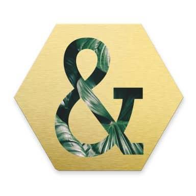 Hexagon Alu-Dibond Gold Deco-Letters Jungle &2