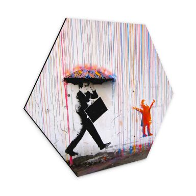 Hexagon - Alu-Dibond Banksy - Coloured Rain