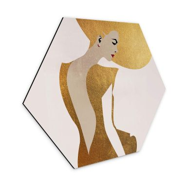 Hexagon - Alu-Dibond Kubistika - Die Dame im goldenen Kleid