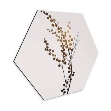 Hexagon Dibond Kubistika - Golden Branch