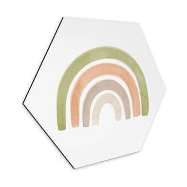 Hexagon Dibond Nouveaprints - Aquarel Regenboog